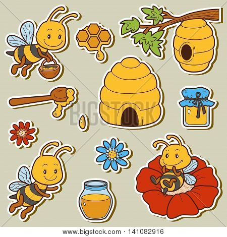 Set Of Cute Animals And Objects, Vector Family Of Bees