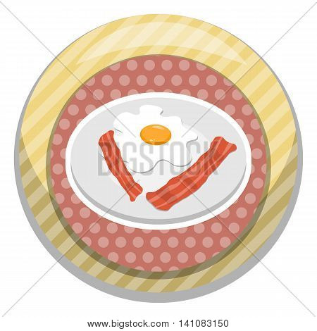 Breakfast egg with bacon. Vector illustration in cartoon style
