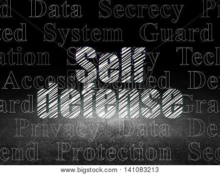 Privacy concept: Glowing text Self Defense in grunge dark room with Dirty Floor, black background with  Tag Cloud