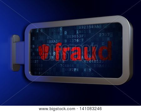 Protection concept: Fraud and Broken Shield on advertising billboard background, 3D rendering
