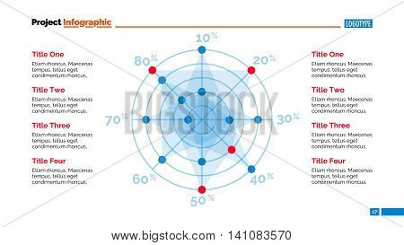 Radar chart slide template. Business data. Graph, diagram, design. Creative concept for infographic, templates, presentation, report. Can be used for topics like analysis, marketing, finance.