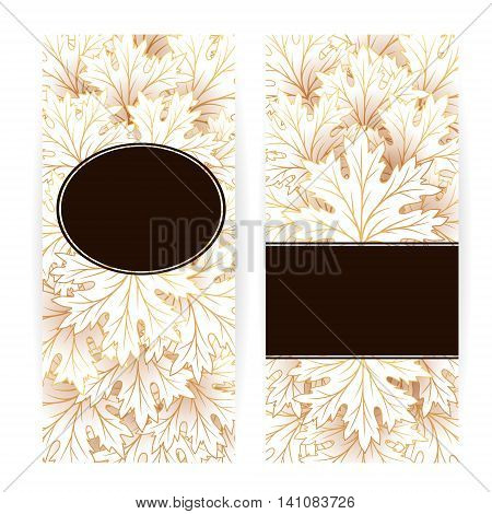 Autumn banners with fall maple tree leaves. Vector vertical flayer template.