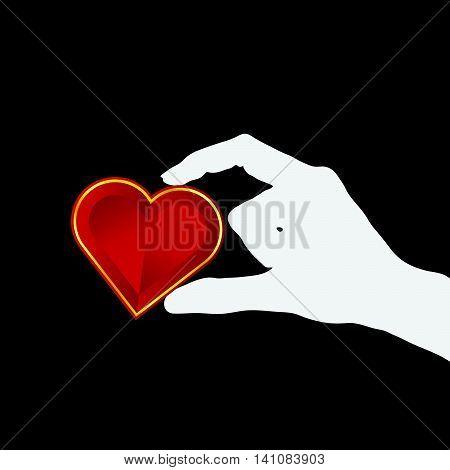 Heart Lovely In Hand Illustration On Black