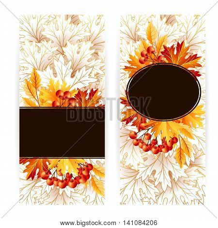 Autumn banners with fall maple tree leaves and rowanberry. Vector vertical flayer template.