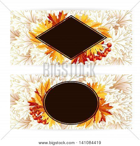 Autumn banners with fall maple tree leaves and rowanberry. Vector horizontal flayer template.