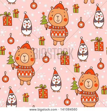 Cartoon vector new year texture. Cute seamless christmas pattern with bear and penguins.