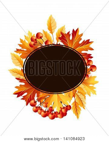 Autumn fall maple tree leaves with rowanberry card. Frame with copy space. Vector banner template.
