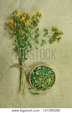 Tutsan.Dried herbs for use in alternative medicine.Herbal medicine phytotherapy medicinal herbs.For preparation of infusions decoctions tinctures powders ointments tea.Background green cloth