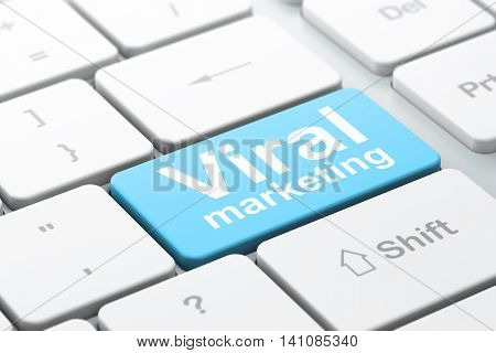 Advertising concept: computer keyboard with word Viral Marketing, selected focus on enter button background, 3D rendering