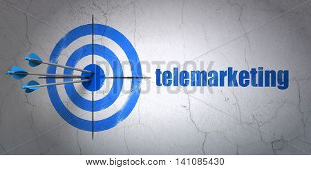 Success marketing concept: arrows hitting the center of target, Blue Telemarketing on wall background, 3D rendering