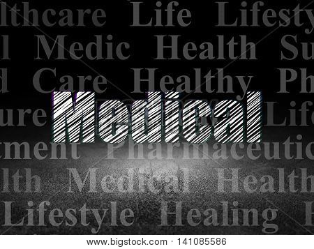 Healthcare concept: Glowing text Medical in grunge dark room with Dirty Floor, black background with  Tag Cloud