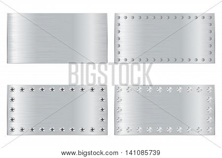 Metal scratched plate with screw head. Vector illustration isolated on white background