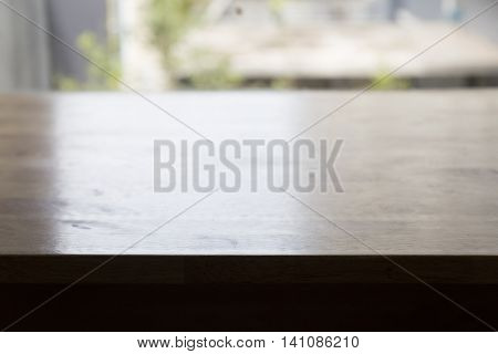 Wooden Table Beside Window For Display Your Product