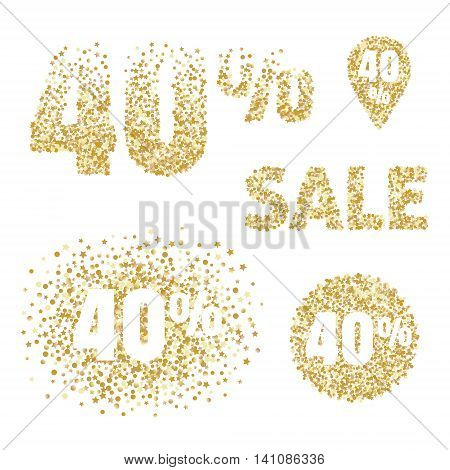 Gold sale design elements and icons. 40 percent discount tags for flayers selling posters shopping banners coupons.