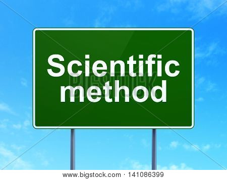 Science concept: Scientific Method on green road highway sign, clear blue sky background, 3D rendering
