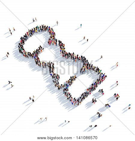Large and creative group of people gathered together in the shape of a salt shaker. 3D illustration, isolated against a white background. 3D-rendering.