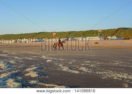 Wijk aan Zee The Netherlands - June 5: Amazon on horseback on the beach during sunset, taken June 5, 2016 in Wijk aan Zee, Netherlands