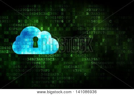 Cloud networking concept: pixelated Cloud With Keyhole icon on digital background, empty copyspace for card, text, advertising