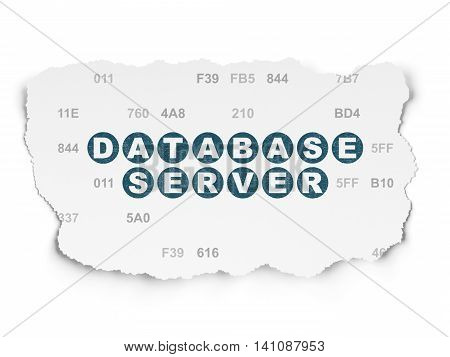 Database concept: Painted blue text Database Server on Torn Paper background with  Hexadecimal Code