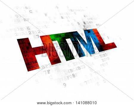 Database concept: Pixelated multicolor text Html on Digital background