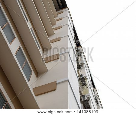 Look up at apartment housing in Thailand. Step of building. pattern physical background in isolated.
