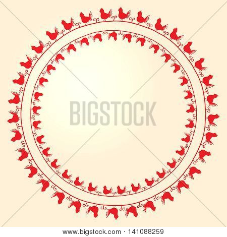 Vector embroidery folk ornament with birds on white