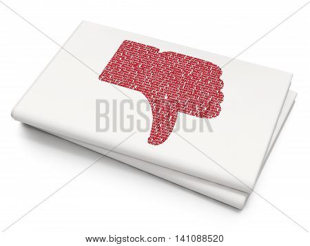 Social media concept: Pixelated red Thumb Down icon on Blank Newspaper background, 3D rendering