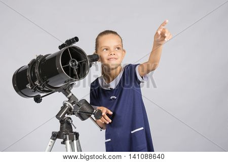 The Young Astronomer Pointing At The Starry Sky