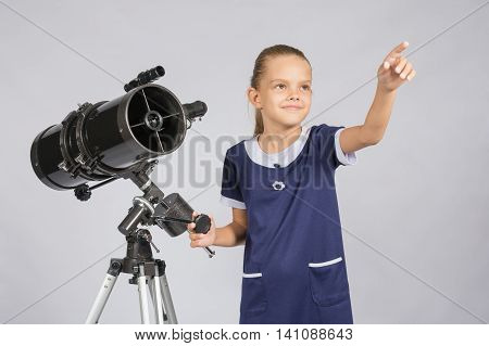 The Young Astronomer Shows The Starry Sky While Standing At The Telescope