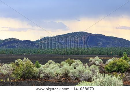 Storm clouds over the cinder fields north of Flagstaff Arizona