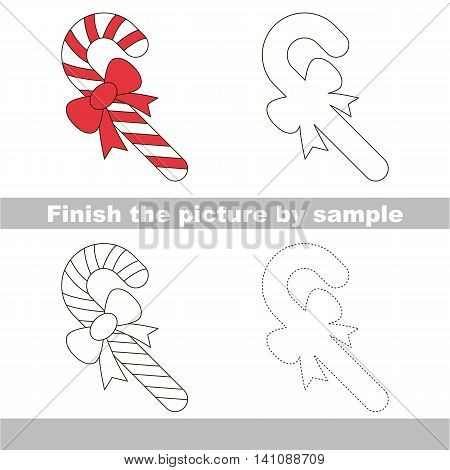 Drawing worksheet for children. Finish the picture and draw the cute Candy Cane