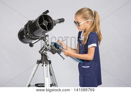 Young Girl With Glasses Writes Astronomer Observations