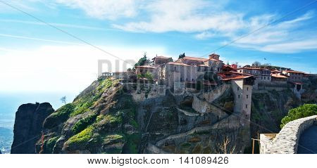 the view on monastery in Meteora, Greece