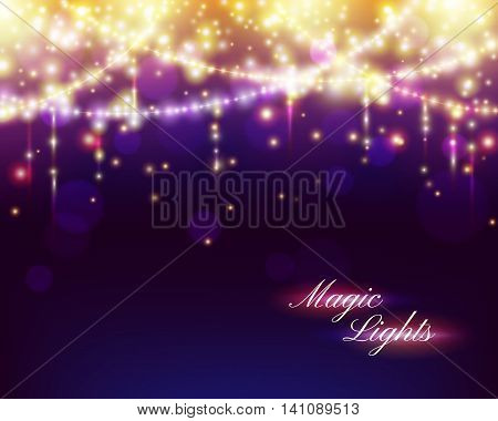 Christmas abstract background with colorful bokeh effect falling magical lights and strings. Celebration vector illustration.
