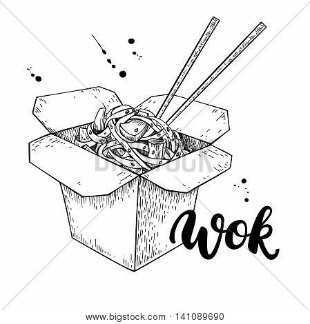 Wok vector drawing with lettering. Isolated chinese box and chopsticks with noodles and vegetables. Hand drawn detailed fast asian food illustration. Great for banner poster sign
