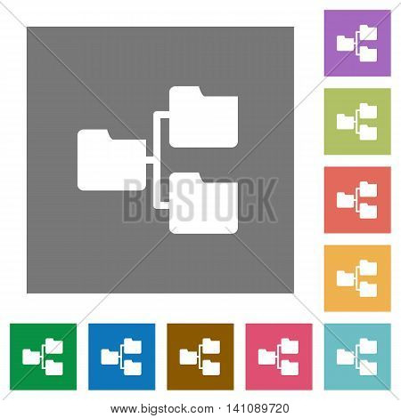 Shared folders flat icon set on color square background.