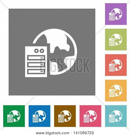Web hosting flat icon set on color square background.