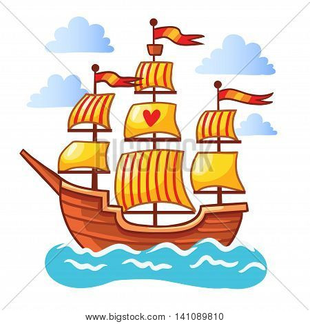 Sailing ship floating in the water. Vector illustration of a ship at sea among the clouds on a white background. The picture in the children s cartoon style.