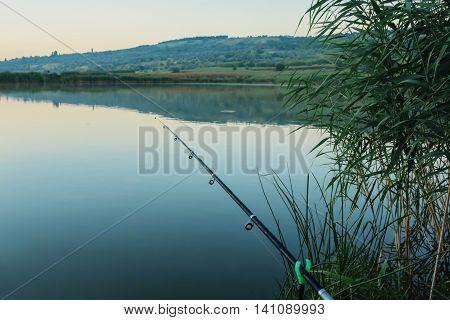 Lake holiday fishing rod and chair summer travel hobby morning sunrice