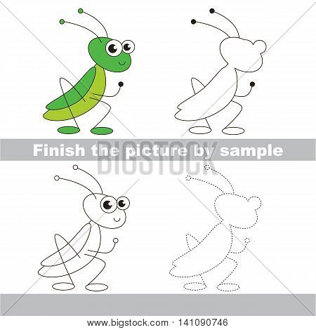 Drawing worksheet for children. Easy educational kid game. Simple level of difficulty. Finish the picture and draw the cute Grasshopper