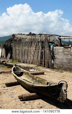 Central America Panama Traditional boat Kuna indians on a Caledonia island on the San Blas archipelago