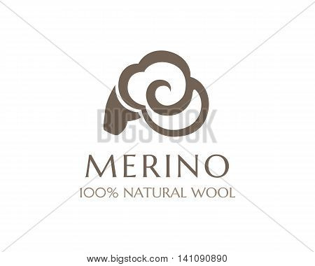 Merino wool icon. Vector sheep logo template. 100 percent natural product isolated symbol