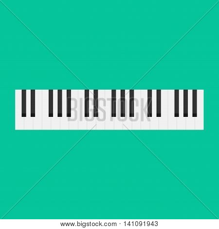 Piano keys vector illustration isolated on green color background, musical instrument keyboard