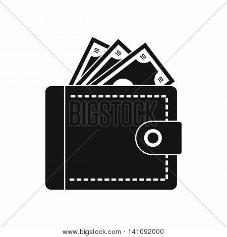 Purse with money icon in simple style isolated on white background. Finance symbol