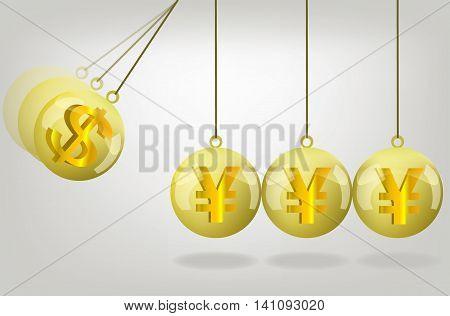 Vector yen money crisis concept art .