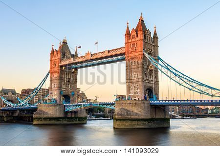 Tower Bridge In London At Sunset