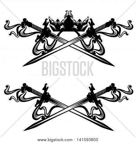 crossed swords and royal crown - black and white vector design set