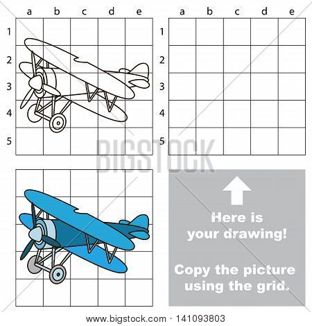Copy the picture using grid lines. Easy educational game for kids. Simple kid drawing game with Biplane