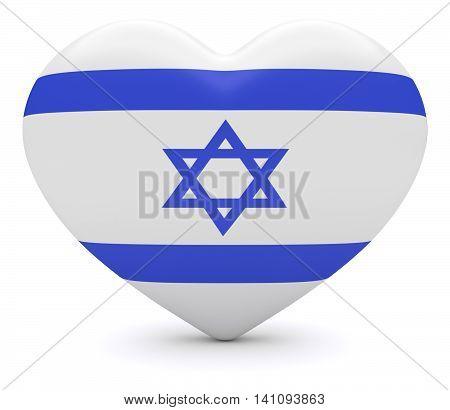 Love Israel: Israeli Flag Heart 3d illustration