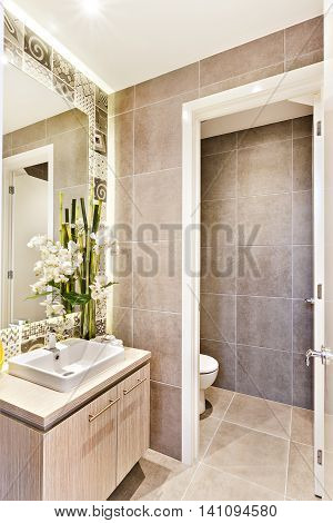 Luxury Bathroom With  An Opne Door To A Toilet
